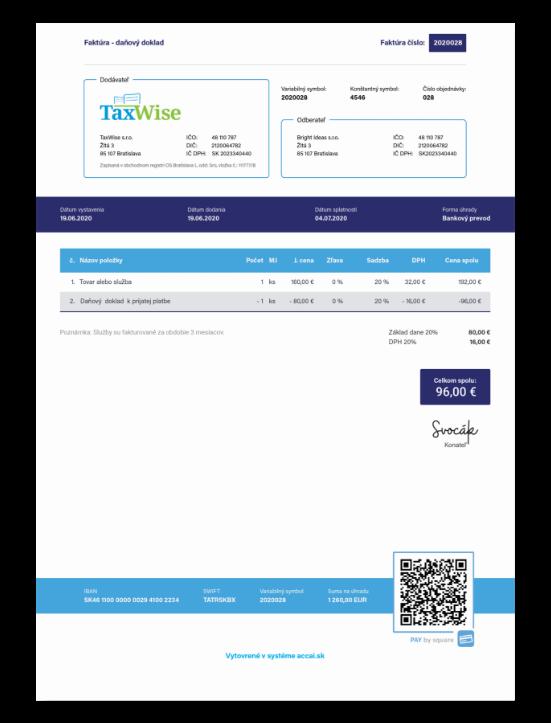 Daňové doklady faktúra screenshot