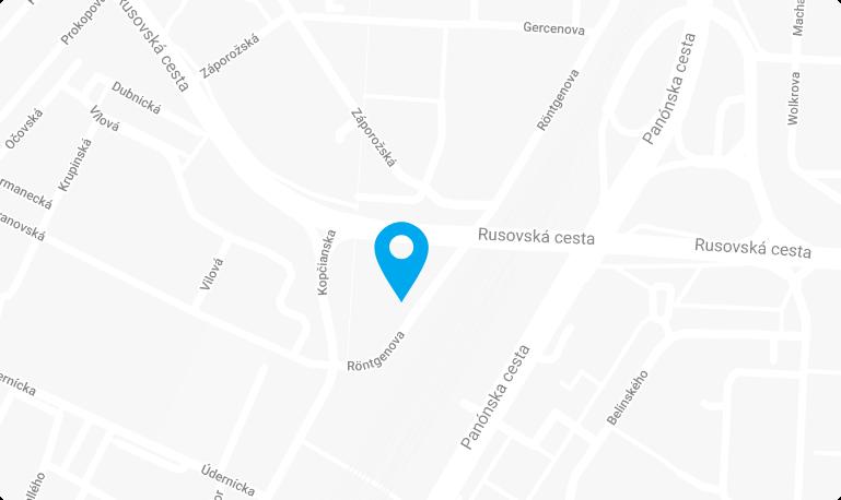 mapa kancelárie Accai na ul. Rontgenovej v Bratislave